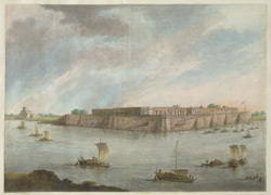 Allahabad fort seen from the Jhusi shore, the Jumna to the left and the Ganges to the right